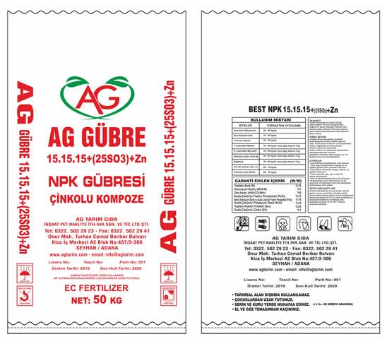 Ag Tarım  Ürünleri - Npk Gübresi - Çinkolu Kompoze